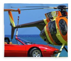 Magnum Helicopter And Ferrari Fleece Blanket