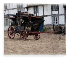 Fleece Blanket featuring the digital art Mail Coach At Lacock by Paul Gulliver