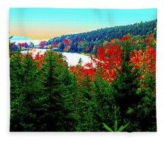 Maine Long Pond Acadia  Fleece Blanket