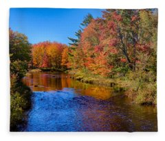 Maine Brook In Afternoon With Fall Color Reflection Fleece Blanket
