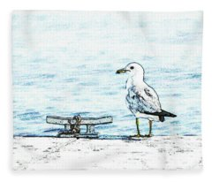 Maine Seagull Fleece Blanket