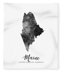 Maine State Map Art - Grunge Silhouette Fleece Blanket
