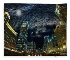 Majestic Chicago - Windy City Riverfront At Night Fleece Blanket