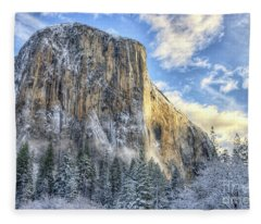 Majestic El Capitan Winter Sunrise Yosemite National Park Fleece Blanket