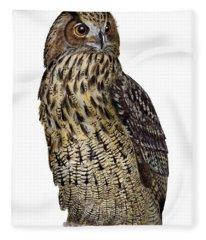 Majestic Eurasian Northern Eagle Owl Bubo Bubo - Hibou Grand-duc - Buho Real - Nationalpark Eifel Fleece Blanket