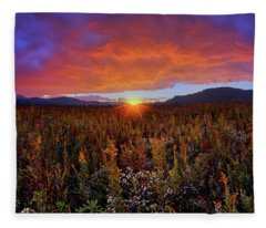 Majestic Sunset Over Cades Cove In Smoky Mountains National Park Fleece Blanket
