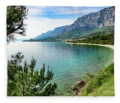 Makarska Riviera White Stone Beach, Dalmatian Coast, Croatia Fleece Blanket