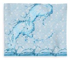 Make A Splash Semi Abstract  Fleece Blanket