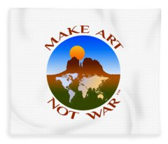 Make Art Not War Logo Fleece Blanket