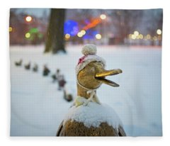 Make Way For Ducklings Winter Hats Boston Public Garden Christmas Fleece Blanket