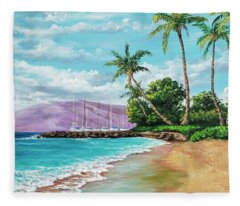 Fleece Blanket featuring the painting Makila Beach by Darice Machel McGuire
