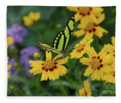 Malachite Butterfly Fleece Blanket