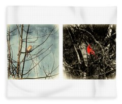 Male And Female Cardinal Fleece Blanket
