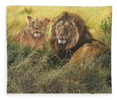 Male And Female Lion Fleece Blanket