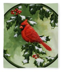 Male Cardinal And Holly Phone Case Fleece Blanket