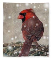 Male Cardinal In Snow #1 Fleece Blanket