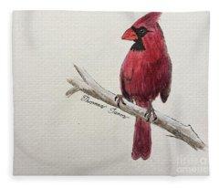 Male Cardinal In Winter Fleece Blanket