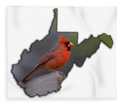 Male Cardinal Perched On Rail Fleece Blanket