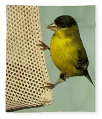 Male Goldfinch On Sock Feeder Fleece Blanket