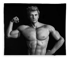 Male Model Render Series 01 Fleece Blanket