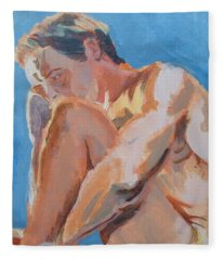 Male Nude Painting Fleece Blanket