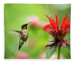 Male Ruby-throated Hummingbird Hovering Near Flowers Fleece Blanket