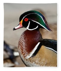Male Wood Duck Fleece Blanket