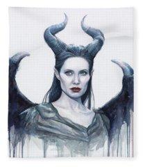 Maleficent Watercolor Portrait Fleece Blanket