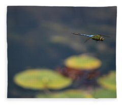 Malibu Blue Dragonfly Flying Over Lotus Pond Fleece Blanket