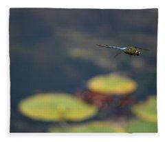 Malibu Blue Dragonfly Flying Over Lotus Pond Fleece Blanket