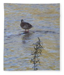 Mallard And The Branch Fleece Blanket