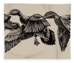 Mallard Ducks In Flight Bw Fleece Blanket