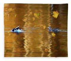 Mallard Ducks On Magnolia Pond - Painted Fleece Blanket