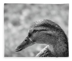 Mallard In Monochrome Fleece Blanket
