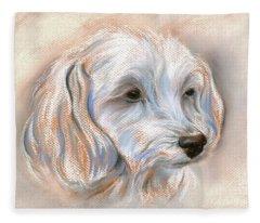 Maltipoo Portrait 2 Fleece Blanket