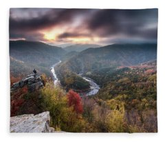 Man Above A River Meander Fleece Blanket
