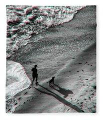Man And Dog On The Beach Fleece Blanket