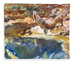Man And Pool, Florida, 1917 Fleece Blanket