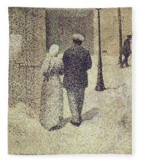 Man And Woman In The Street Fleece Blanket