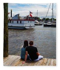 Man And Woman Sitting On Dock Fleece Blanket