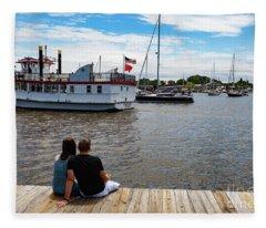 Man And Woman Sitting On The Dock Fleece Blanket