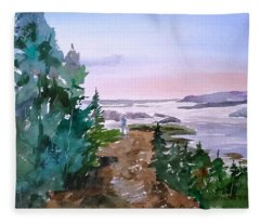 Man At Fraser Lake Bc Fleece Blanket
