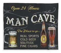 Man Cave Chalkboard Sign Fleece Blanket