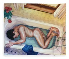 Man In Bathtub #3 Fleece Blanket