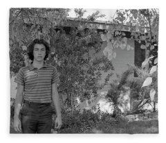 Man In Front Of Cinder-block Home, 1973 Fleece Blanket