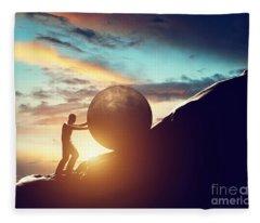 Man Rolling Huge Concrete Ball Up Hill Fleece Blanket