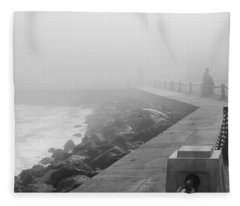 Man Waiting In Fog Fleece Blanket