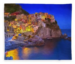 Manarola By Moonlight Fleece Blanket