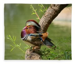 Mandarin Duck On Tree Fleece Blanket