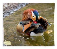 Mandarin Duck Preening Feathers Fleece Blanket